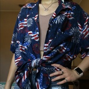 Oversized 4th of July button up